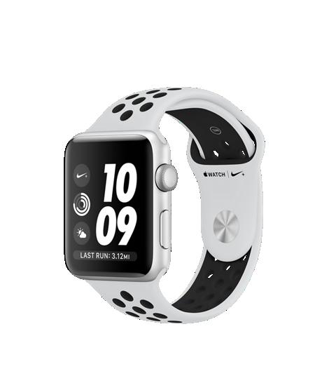 Apple Watch Nike+ 42mm pouzdro ze stříbrného hliníku s platinovým/černým sportovním řemínkem Nike