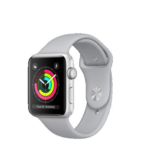 Apple Watch Series 3 42mm pouzdro ze stříbrného hliníku s mlhově šedým sportovním řemínkem