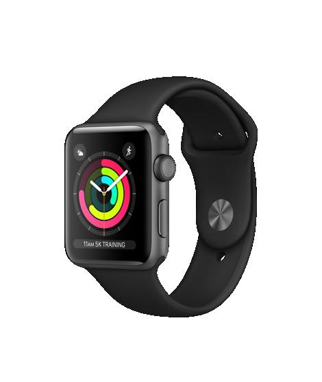 Apple Watch Series 3 42mm pouzdro z vesmírně šedého hliníku s černým sportovním řemínkem