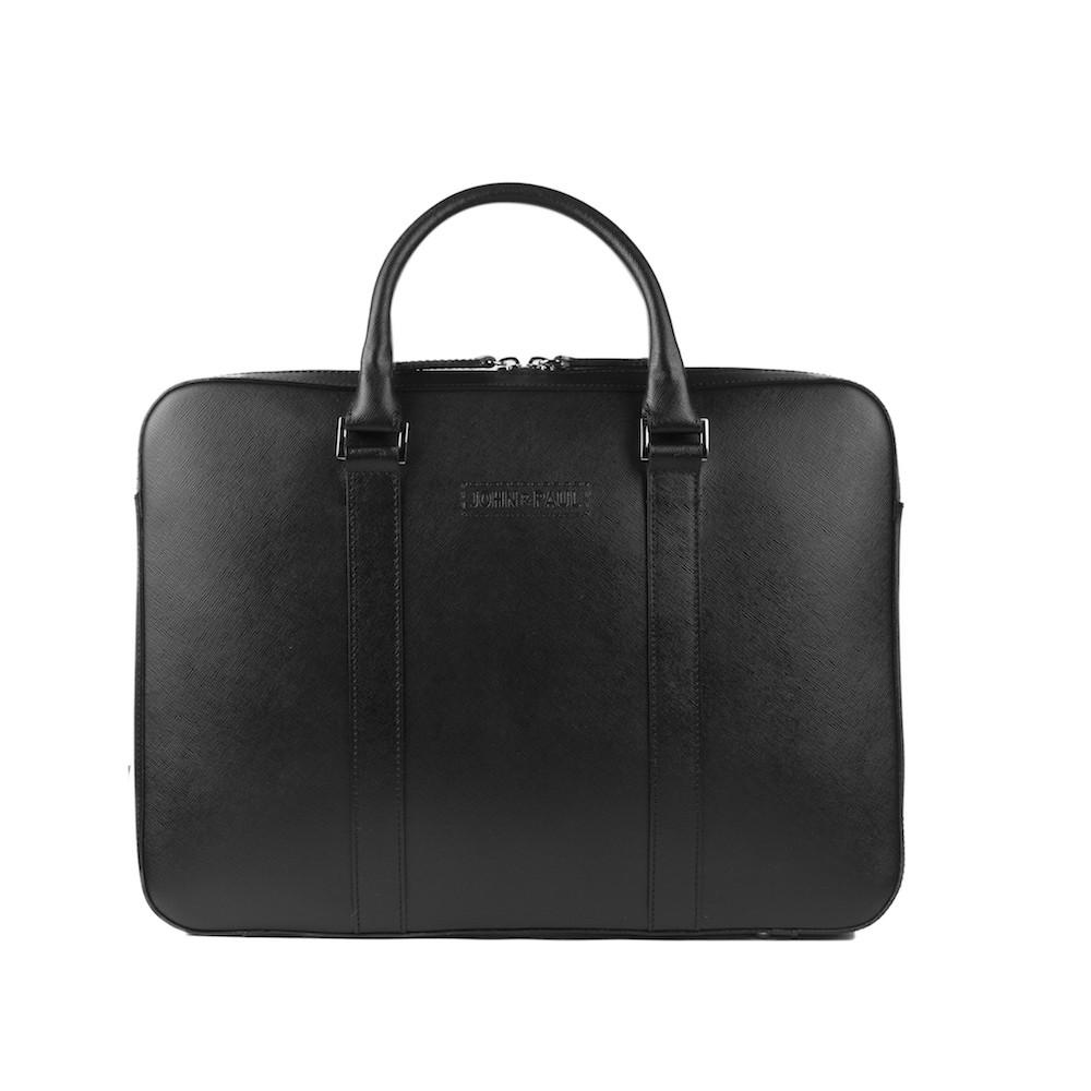 John & Paul - kožená slim taška na MacBook - černá