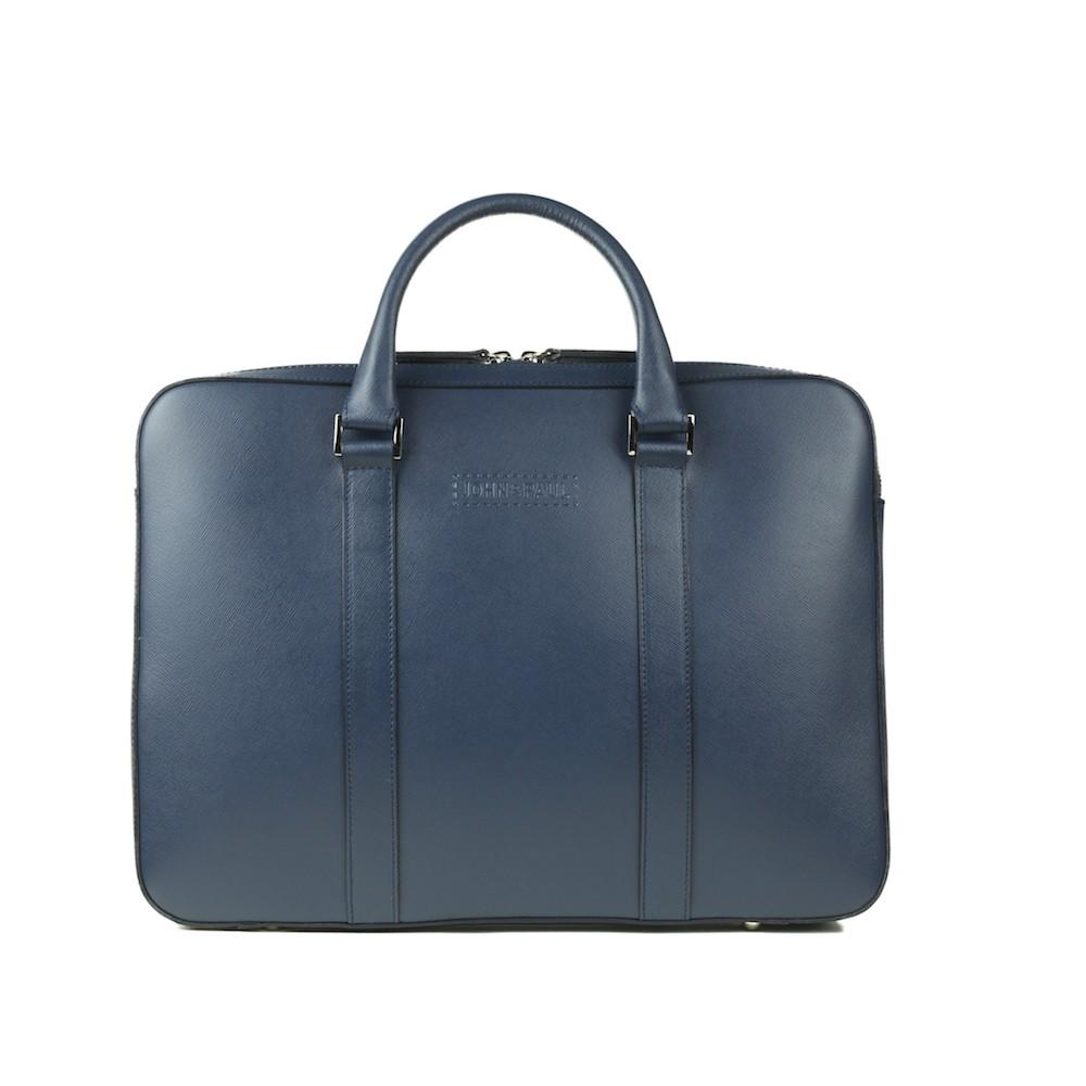John & Paul - kožená slim taška na MacBook - modrá