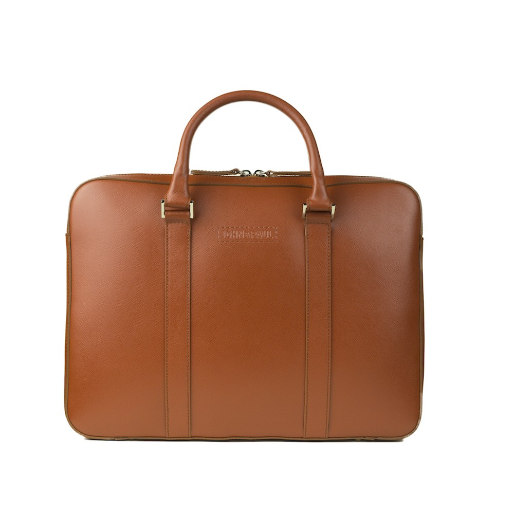John & Paul - kožená slim taška na MacBook - koňak