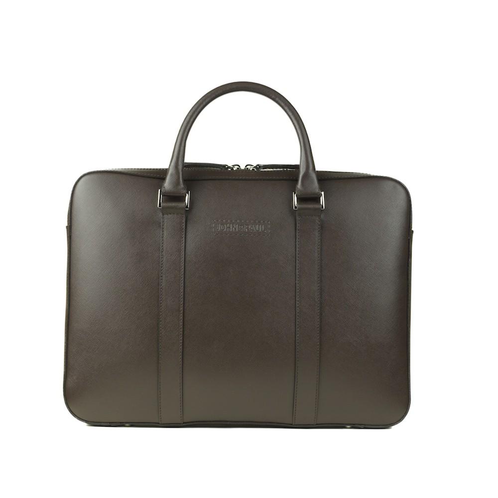 John & Paul - kožená slim taška na MacBook - tmavě hnědá
