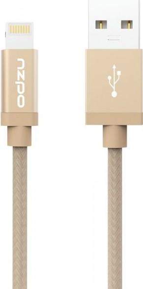 Odolný textilní kabel s Lightning konektorem - Odzu, zlatý