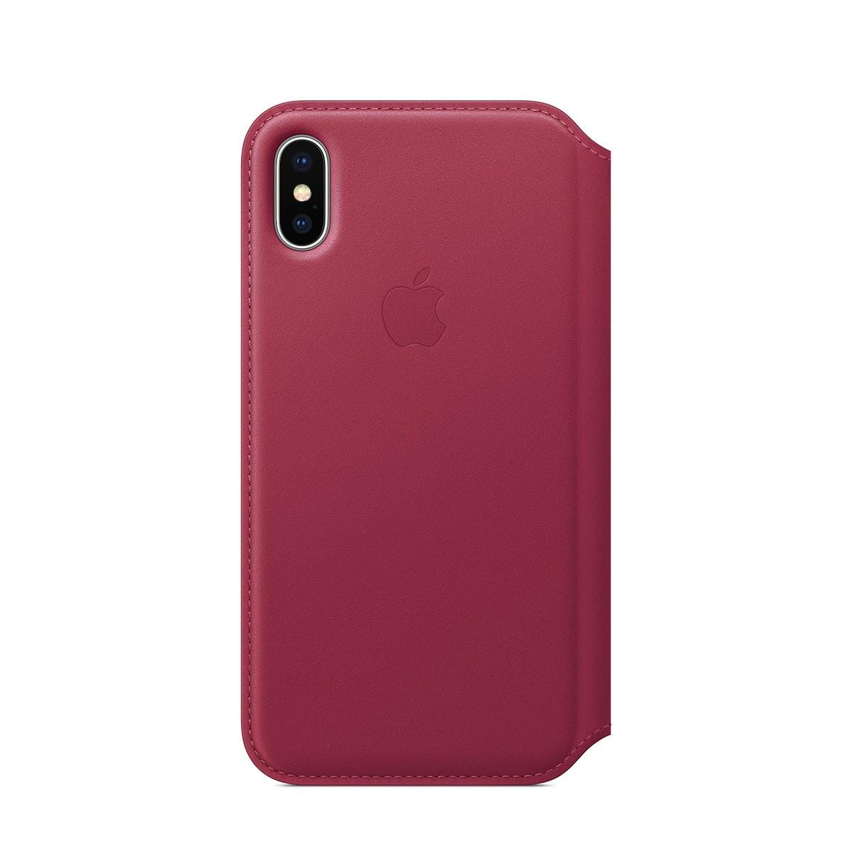 Apple kožené pouzdro Folio na iPhone X – malinové