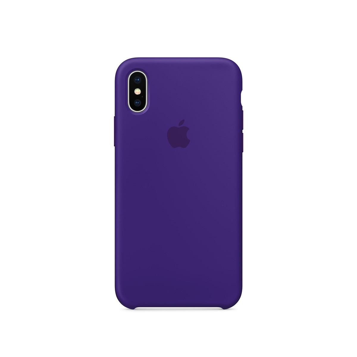 Apple silikonový kryt na iPhone X – tmavě fialový