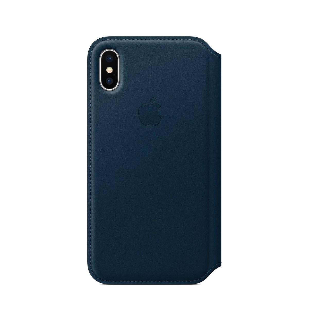 Apple kožené pouzdro Folio na iPhone X – kosmicky modré