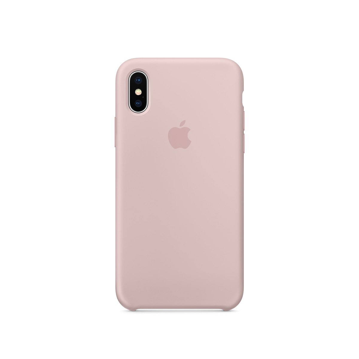 Apple silikonový kryt na iPhone X – pískově růžový