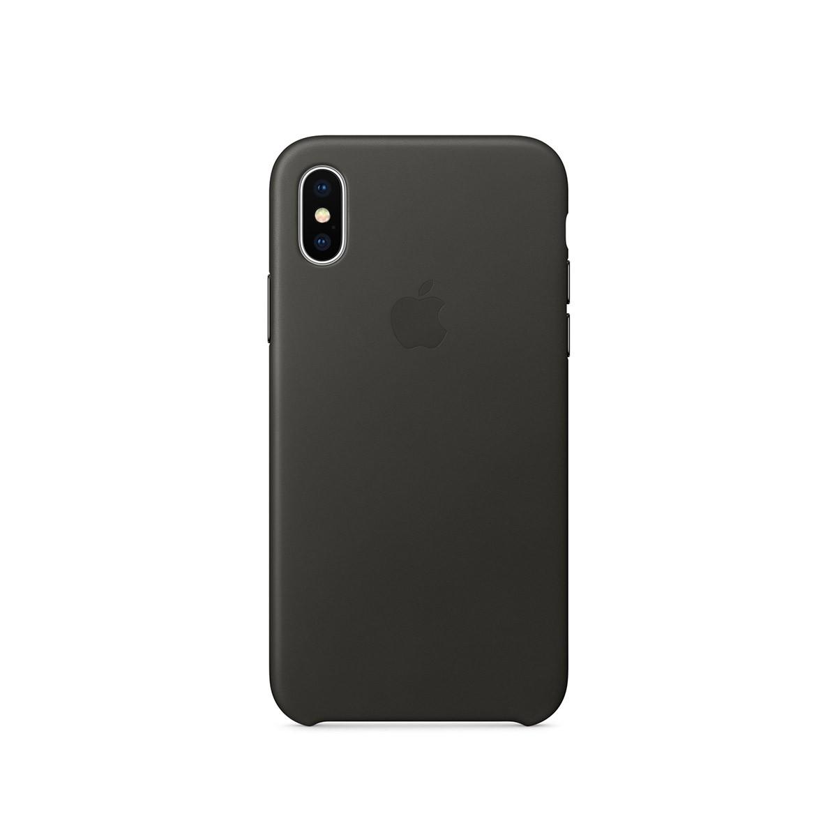 Apple kožený kryt na iPhone X – uhlově šedý