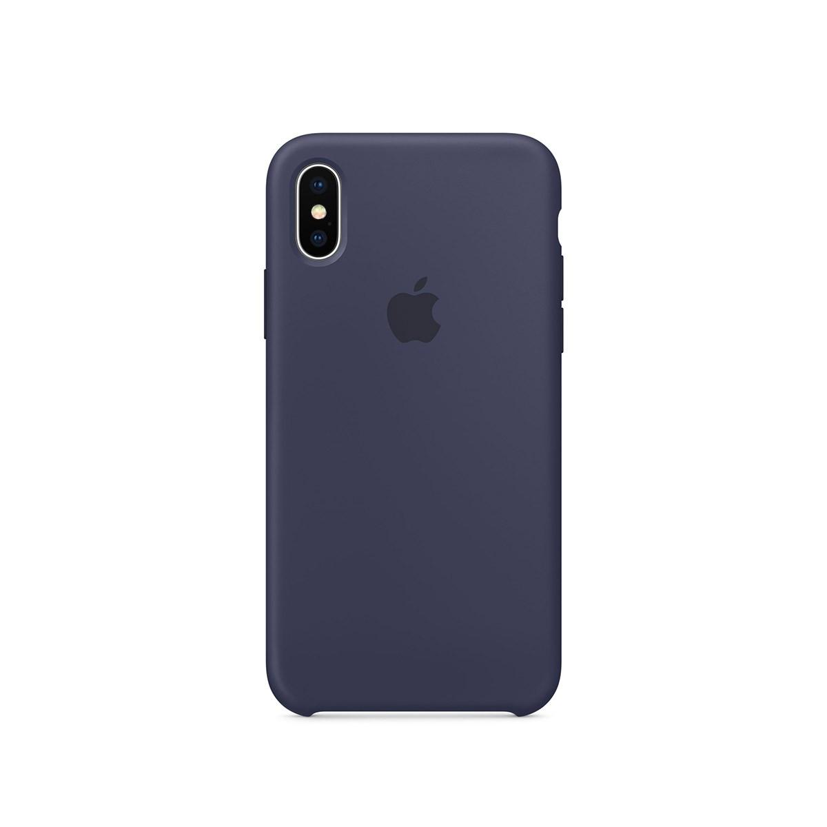 Apple silikonový kryt na iPhone X – půlnočně modrý
