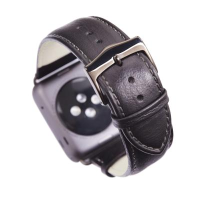 Kožený řemínek dBramante Copenhagen pro Apple Watch 42mm, černý s šedou sponou
