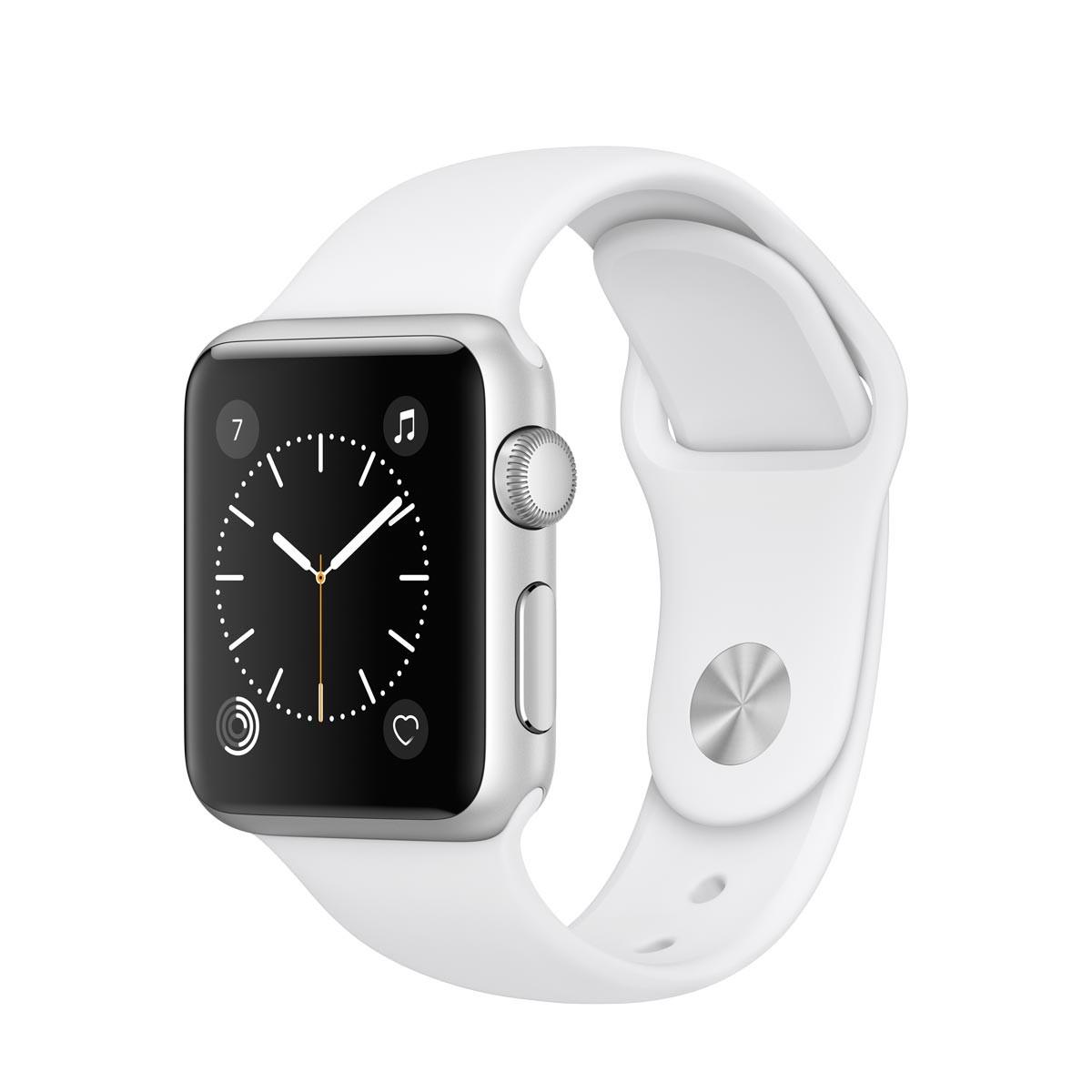 Apple Watch Series 1 - 38mm pouzdro ze stříbrného hliníku – bílý sportovní řemínek