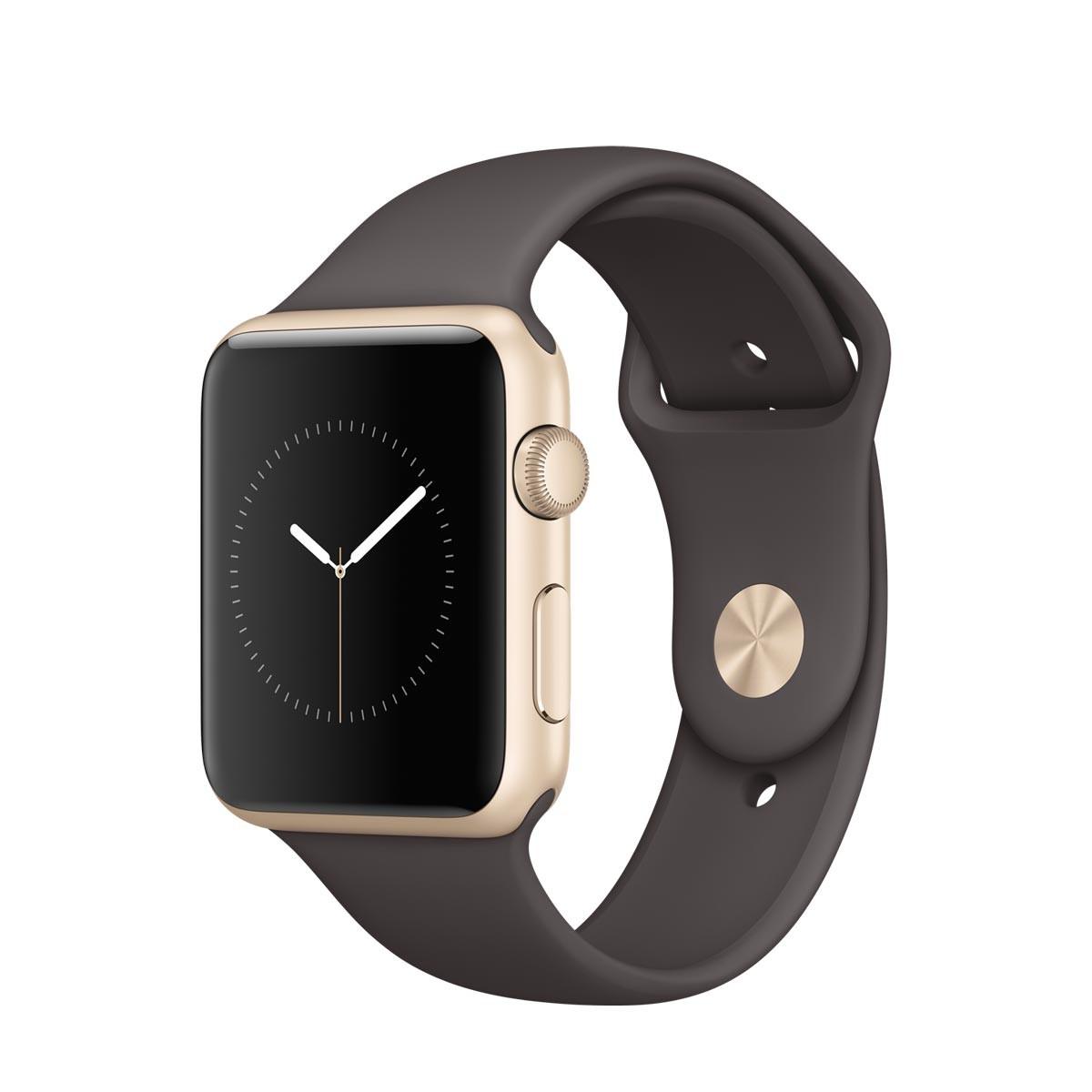 Apple Watch Series 1 - 42mm pouzdro ze zlatého hliníku – kakaově hnědý sportovní řemínek