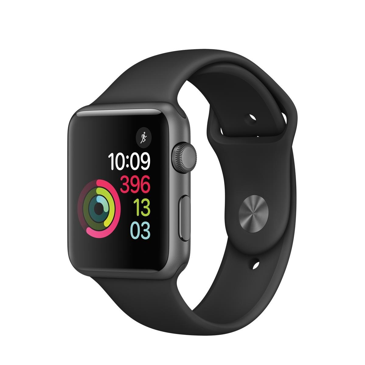 Apple Watch Series 1 - 42mm pouzdro z vesmírně šedého hliníku – černý sportovní řemínek