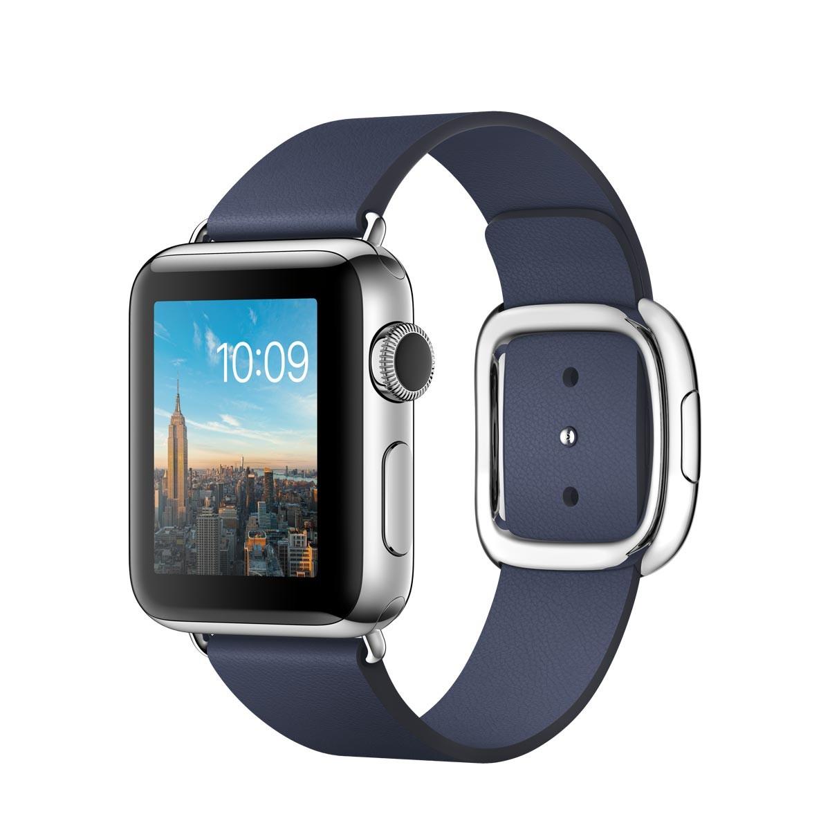 Apple Watch Series 2 - 38mm pouzdro z nerezové oceli – půlnočně modrý řemínek s moderní přezkou M