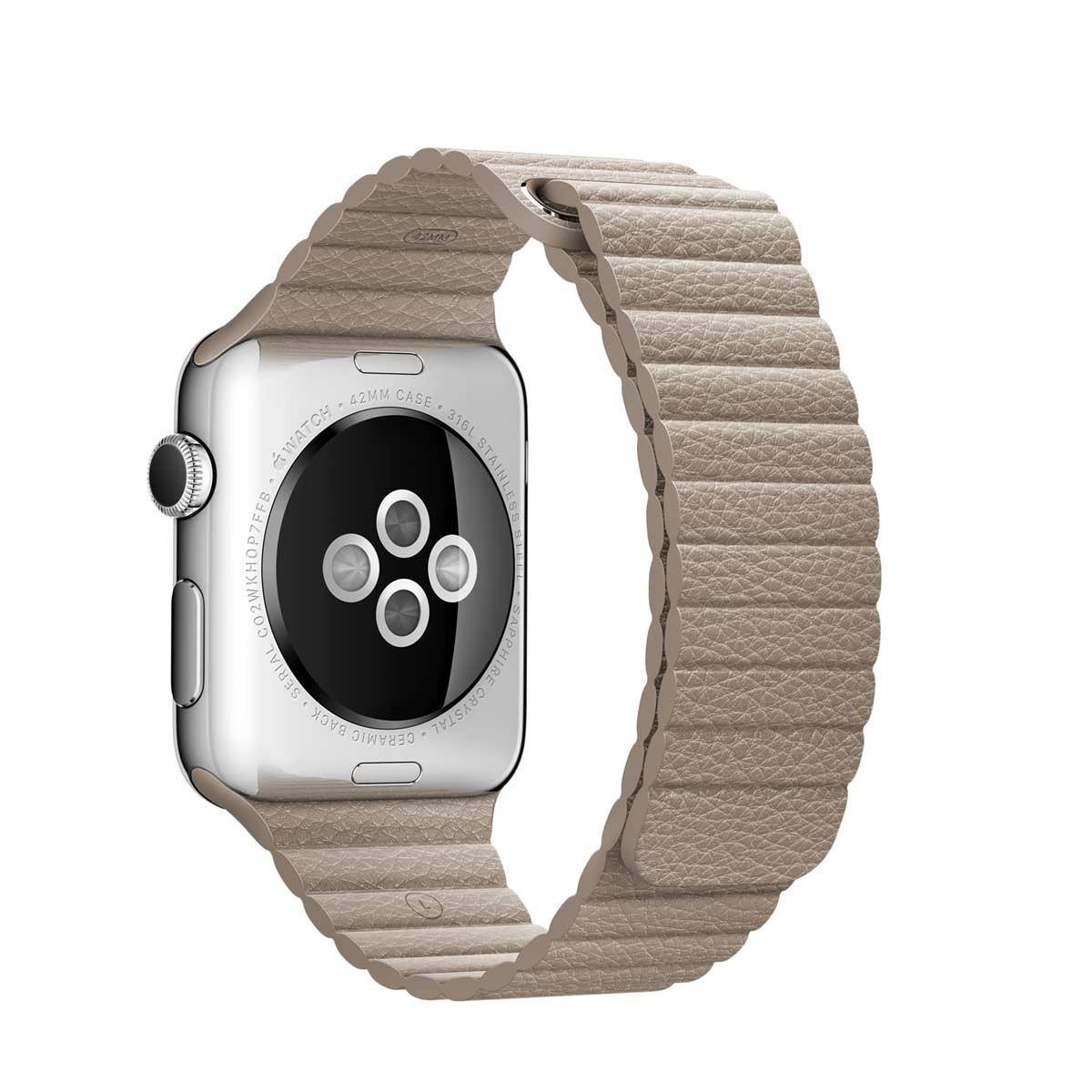 Apple 42mm kamenně šedý kožený řemínek – velký