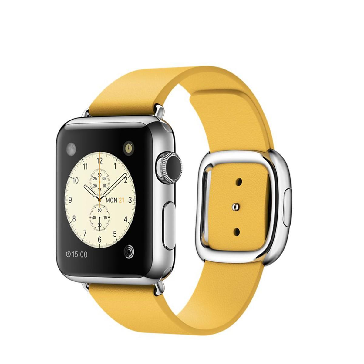 Apple Watch - 38mm pouzdro z nerezové oceli s měsíčkově žlutým řemínkem s moderní přezkou – středním (otevřené, nepoužité, záruka a odpovědnost z vad 12 měsíců u iSTYLE)