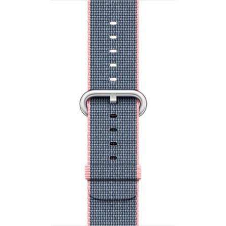 Apple - 42mm světle růžový / půlnočně modrý řemínek z tkaného nylonu
