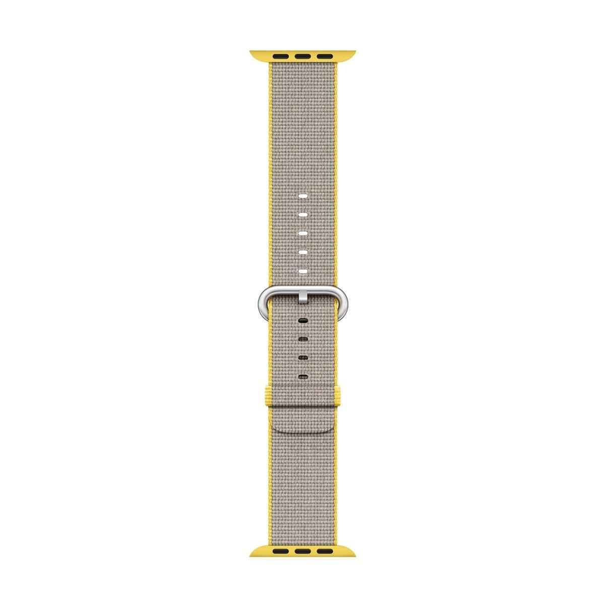 Apple - 42mm žlutý / světle šedý řemínek z tkaného nylonu