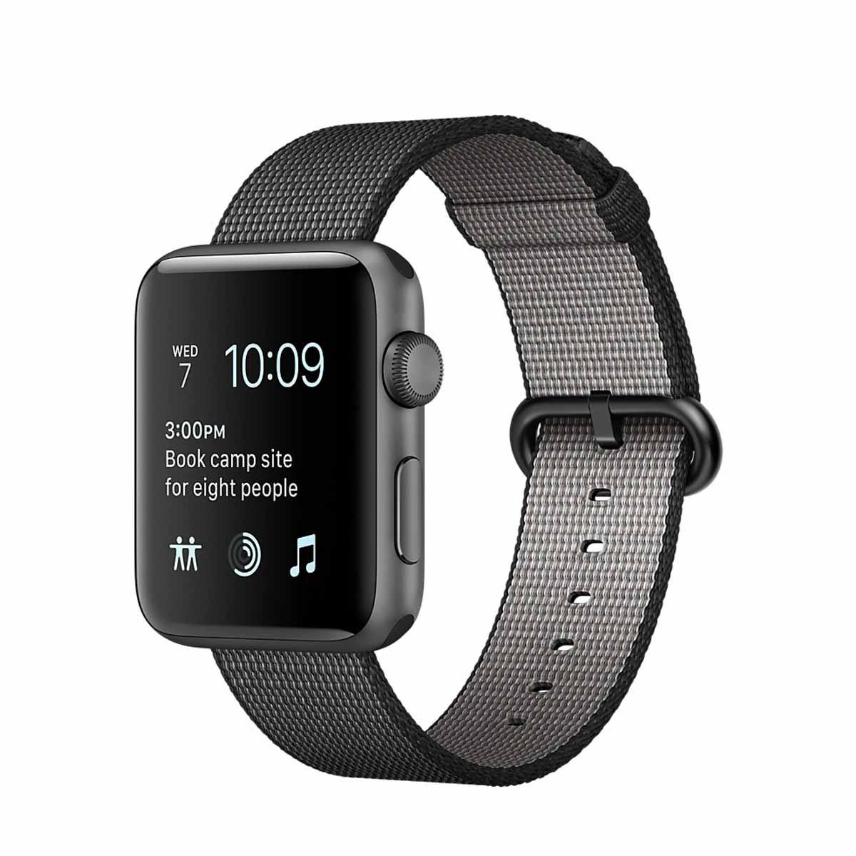 Apple Watch Series 2 - 38mm pouzdro z vesmírně šedého hliníku – černý řemínek z tkaného nylonu (rozbalené, záruka a odpovědnost z vad 12 měsíců)