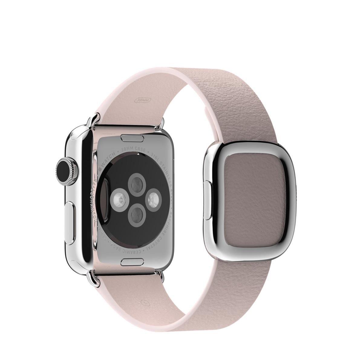 Apple 38mm bledě růžový řemínek s moderní přezkou – malý