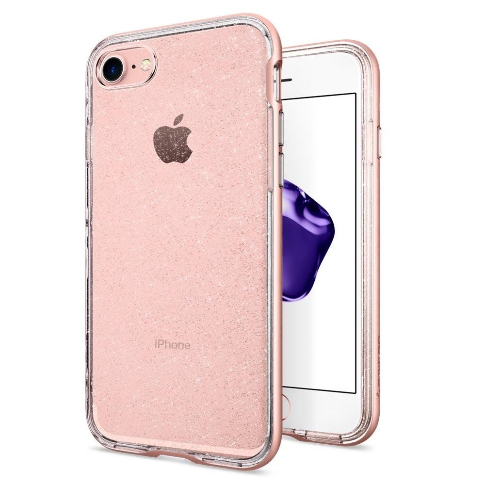 Spigen Neo Hybrid Crystal Glitter - kryt pro iPhone 7 - růžovozlatý s třpytkami/průhledný