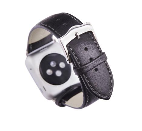 Kožený řemínek dBramante Copenhagen pro Apple Watch 38mm, černý se stříbrnou sponou