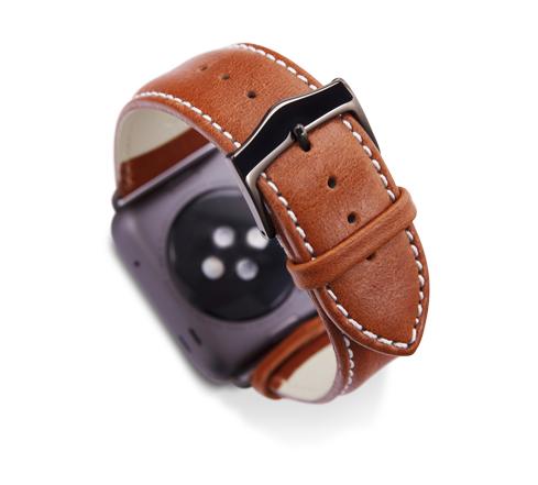 Kožený řemínek dBramante Copenhagen pro Apple Watch 38mm, tan s šedou sponou