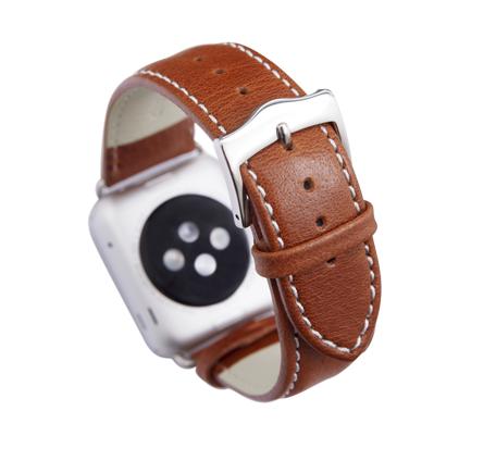 Kožený řemínek dBramante Copenhagen pro Apple Watch 42mm, tan se stříbrnou sponou