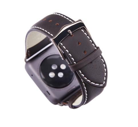 Kožený řemínek dBramante Copenhagen pro Apple Watch 38mm, hunter s šedou sponou