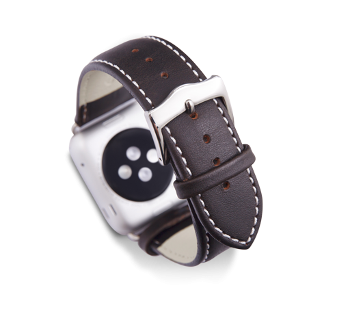 Kožený řemínek dBramante Copenhagen pro Apple Watch 38mm, hunter se stříbrnou sponou