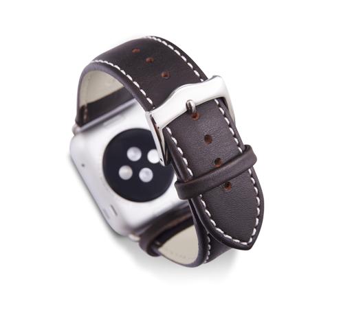 Kožený řemínek dBramante Copenhagen pro Apple Watch 42mm, hunter se stříbrnou sponou