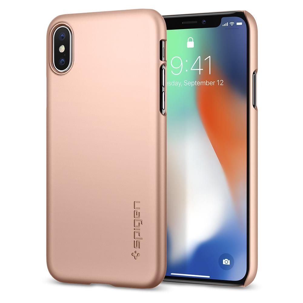 Spigen Thin Fit, lehký kryt pro iPhone X - růžově zlatý