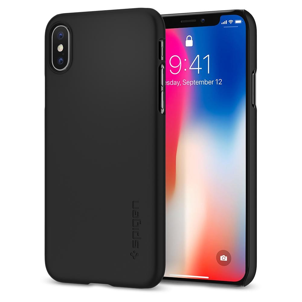 Spigen Thin Fit, lehký kryt pro iPhone X - černý