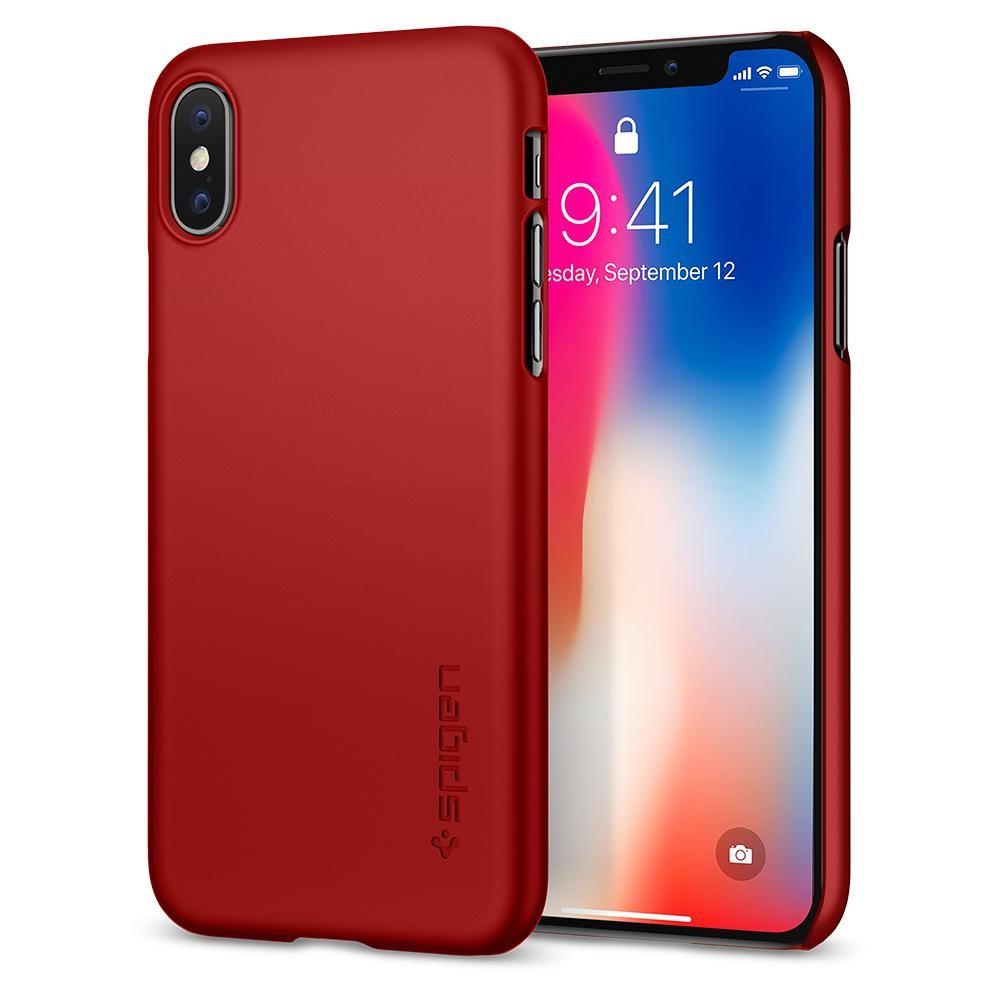 Kryt na iPhone X Spigen Thin Fit - červený
