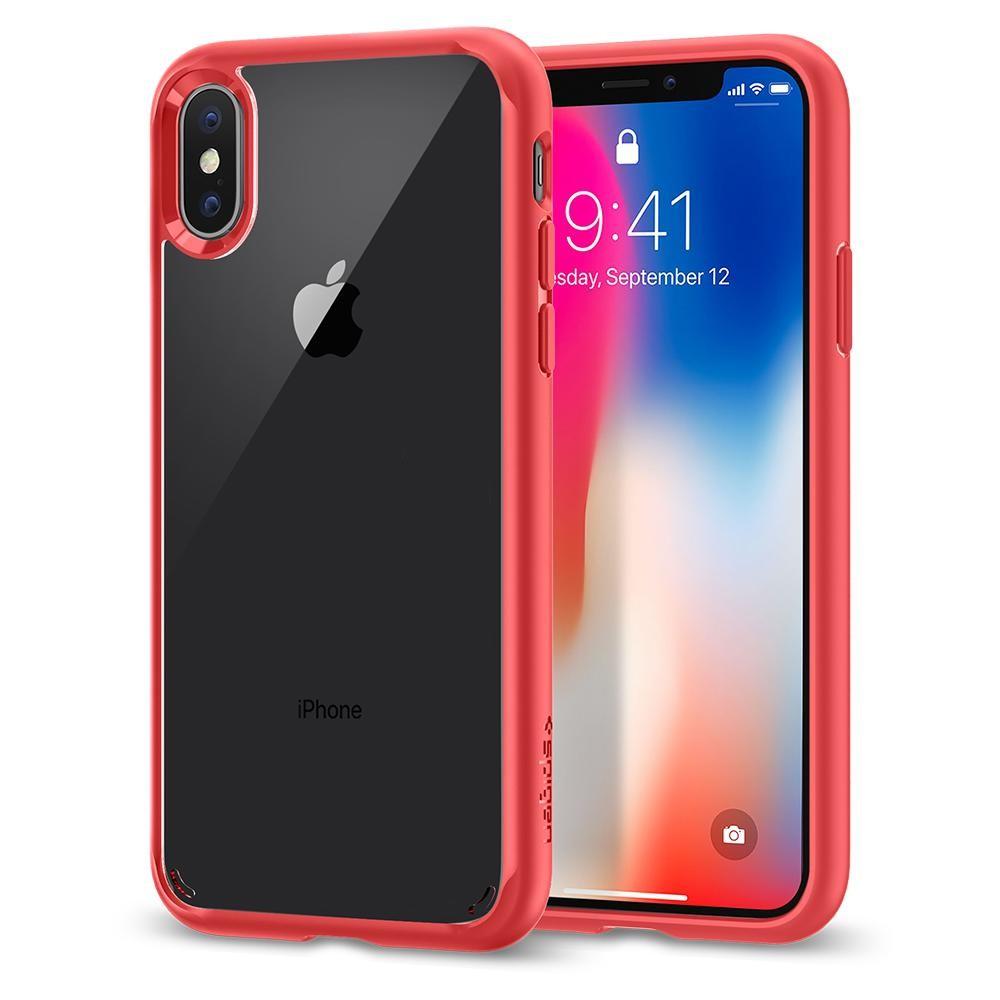 Spigen Ultra Hybrid, ochranný kryt pro iPhone X - červený