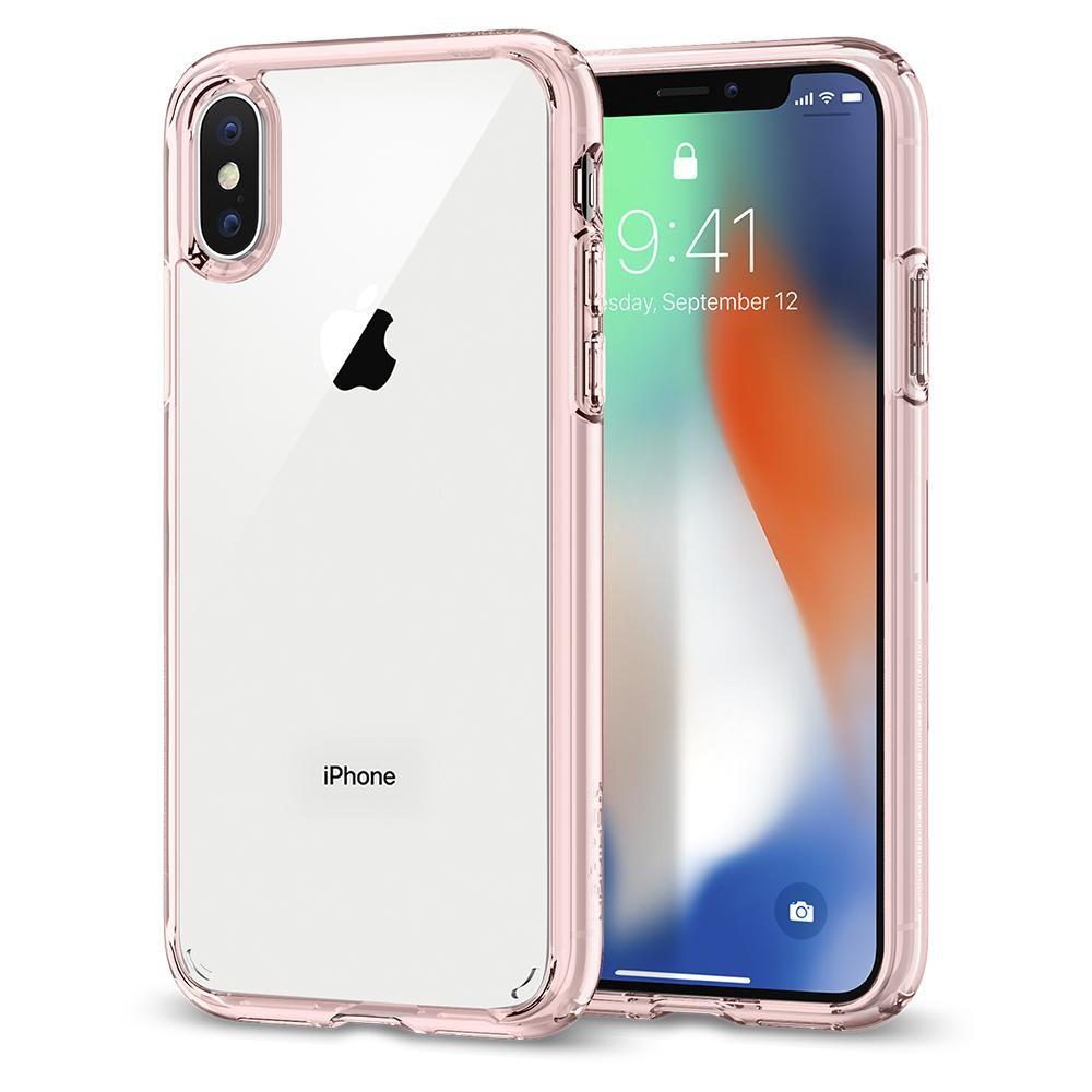 Kryt na iPhone X Spigen Ultra Hybrid - růžový