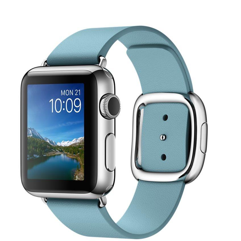 Apple Watch - 38mm pouzdro z nerezové oceli s ledňáčkově modrým řemínkem s moderní přezkou – středním