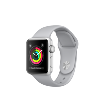 Apple Watch Series 3 pouzdro ze stříbrného hliníku s mlhově šedým sportovním řemínkem
