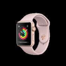 Apple Watch Series 3 pouzdro ze zlatého hliníku s pískově růžovým sportovním řemínkem