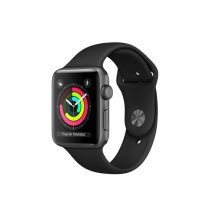 Apple Watch Series 3 pouzdro z vesmírně šedého hliníku s černým sportovním řemínkem
