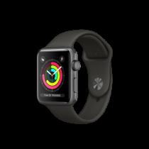 Apple Watch Series 3 pouzdro z vesmírně šedého hliníku s šedým sportovním řemínkem