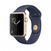 Apple Watch Series 1 - 42mm pouzdro ze zlatého hliníku – půlnočně modrý sportovní řemínek