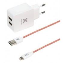 Xtorm AC Adapter 2x USB + Lightning kabel - 2.4A