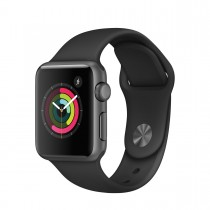 Apple Watch Series 1 - 38mm pouzdro z vesmírně šedého hliníku – černý sportovní řemínek (použité, záruka a odpovědnost z vad 12 měsíců u iSTYLE)