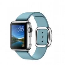 Apple Watch - 38mm pouzdro z nerezové oceli s ledňáčkově modrým řemínkem s moderní přezkou – malým