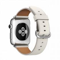 Apple 42mm bílý kožený řemínek s klasickou přezkou
