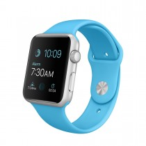 Apple Watch Sport - 42mm pouzdro ze stříbrného hliníku s modrým sportovním řemínkem (servisované, záruka a odpovědnost z vad 12 měsíců)