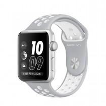 Apple Watch Nike+ - 42 mm pouzdro ze stříbrného hliníku  s matně stříbrným / bílým sportovním řemínkem Nike