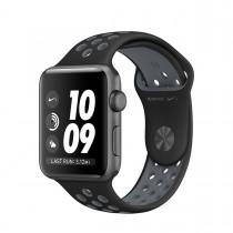 Apple Watch Nike+ - 38 mm Pouzdro z vesmírně šedého hliníku  s černým / chladně šedým sportovním řemínkem Nike